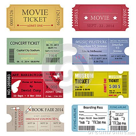 ticket template designs stock vector image 46086041