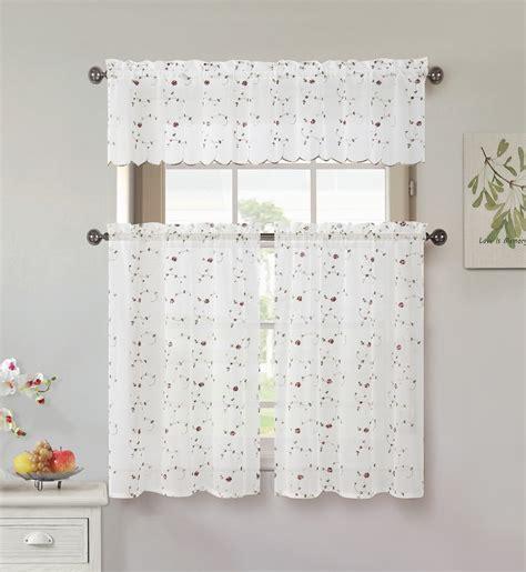kmart kitchen window curtains essential home vintage rose kitchen tier pair home