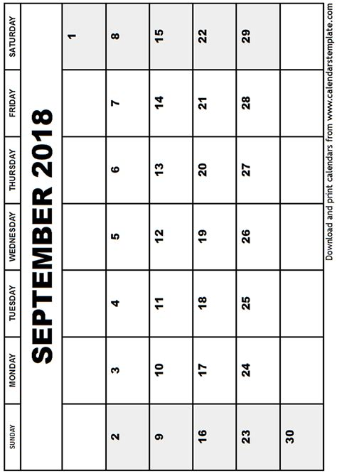 Calendar Sept 2018 September 2018 Calendar Template
