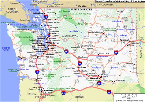 washington state map with cities map of washington travelsfinders