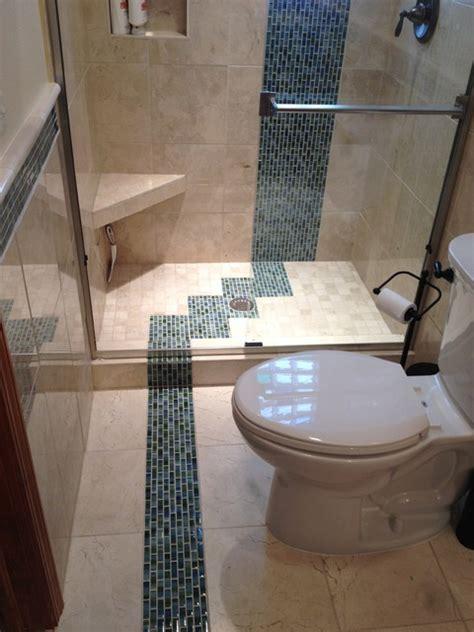 bathroom remodel custom marble tile colored glass block