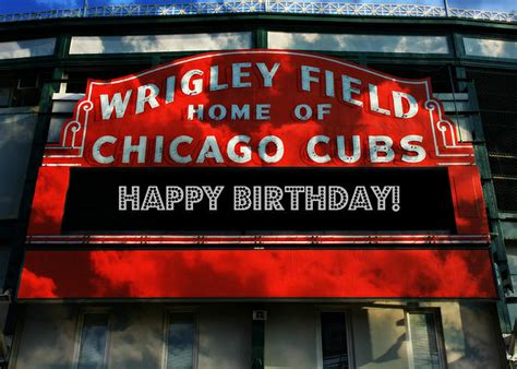 Chicago Cubs Birthday Card Wrigley Field Happy Birthday By Stephen Stookey