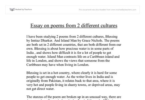 Two Different Cultures Essay by Essay On Poems From Different Cultures Blessing And Island Gcse Marked By