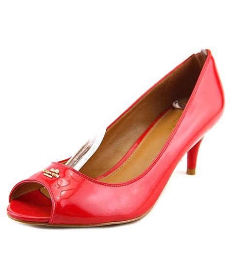 high heels coach coach coach peep toe patent leather heels