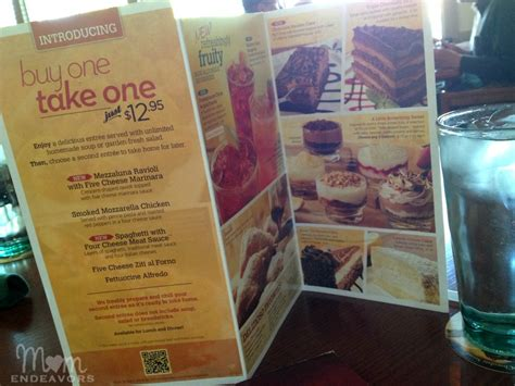 Olive Garden Buy One Take One Menu by Family Dinners With Olive Garden S Buy One Take One Deal
