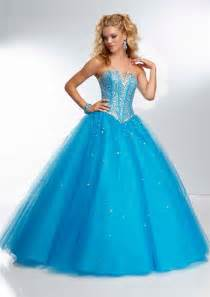 ball gown strapless corset back long blue tulle beaded