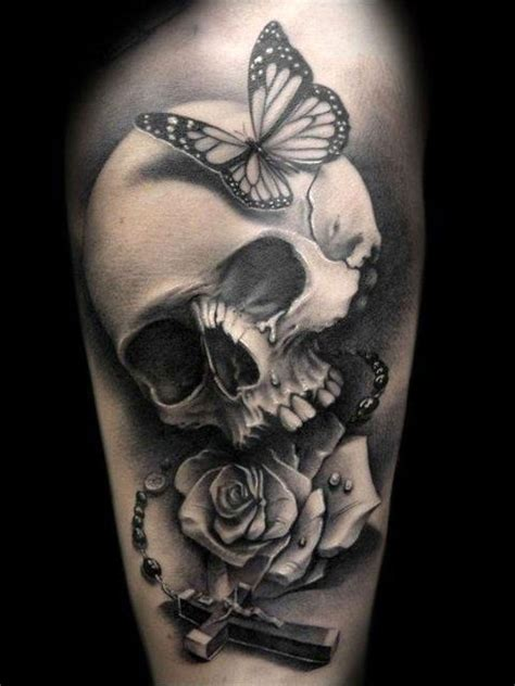 skull tattoo images amazing black and white skull bone with cross and roses