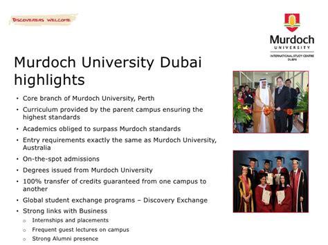 Murdoch Australia Mba by Murdoch International Study Centre Dubai