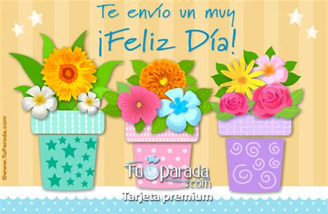 imagenes de feliz dia con flores tarjeta de feliz d 237 a con macetas y flores feliz d 237 a tarjetas