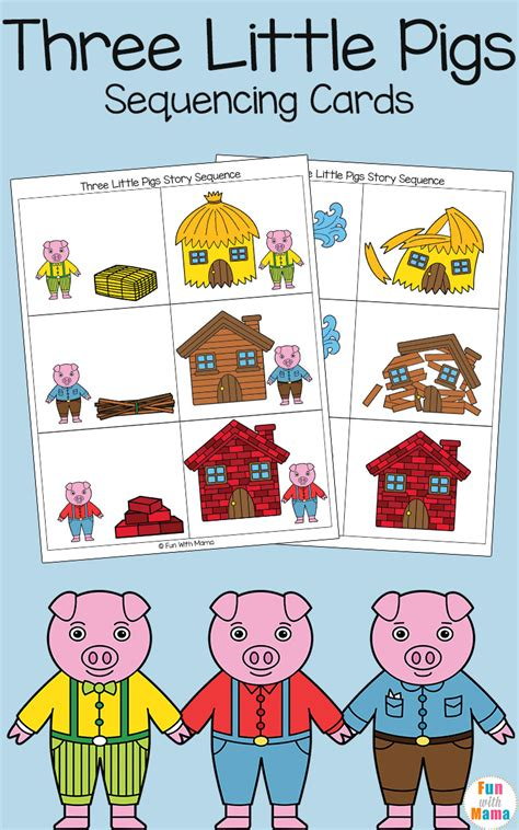 three story three little pigs sequencing cards fun with mama