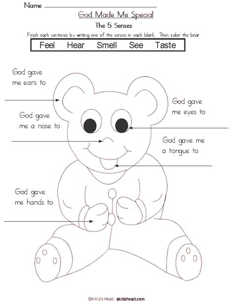 coloring pages five senses preschool teddy bear 5 senses coloring page