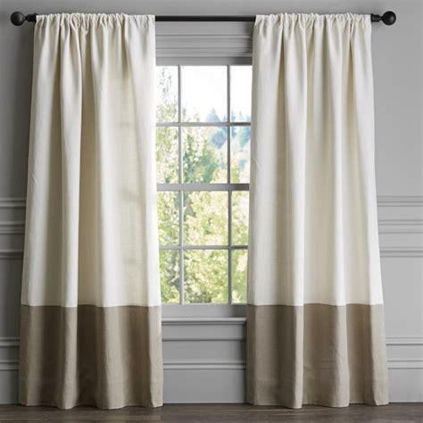 draping curtains over a rod bottom border rod pocket drape natural williams sonoma
