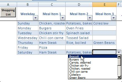 Excel Weekly Meal Planner With Recipe Selector