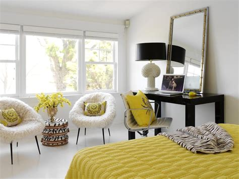 black white yellow bedroom black white yellow home office eclectic with craft room