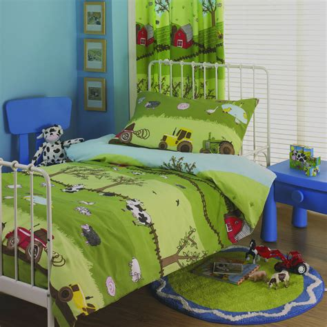 Bedroom Curtains And Bedding by Farm Yard Boys Tractor Duvet Set Or Curtains Children S
