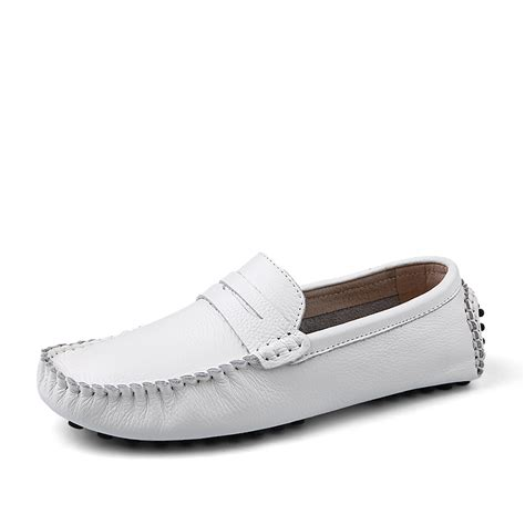 Handmade Genuine Leather S Shoes - handmade genuine leather white flats s slip on
