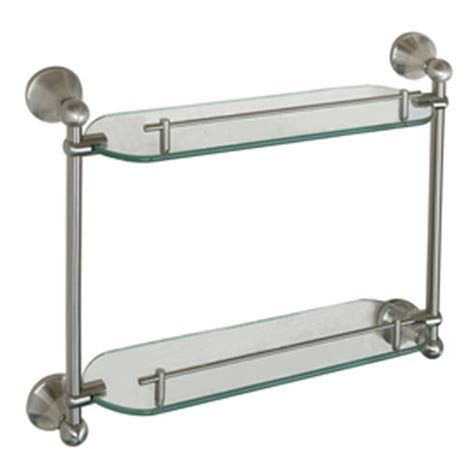 Brushed Nickel Bathroom Shelves Shop Barclay Kendall 2 Tier Brushed Nickel Glass Bathroom Shelf At Lowes