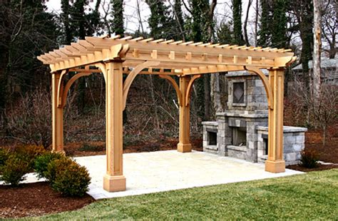Pergola Post Supports by Outdoor Kitchen Pergola No Kp2 By Trellis Structures
