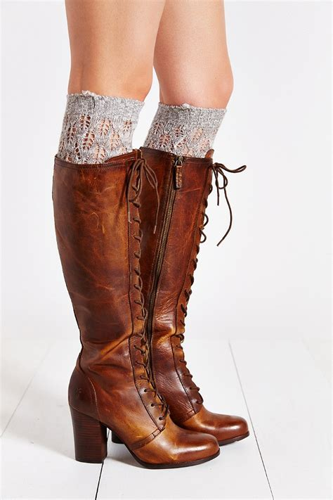 frye lace up boots lyst frye lace up boot in brown
