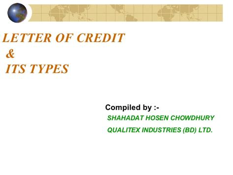 Letter Of Credit Types And Its Usefulness In Export Letter Of Credit