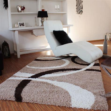 teppich 120x170 teppich hochflor shaggy linien muster beige braun top