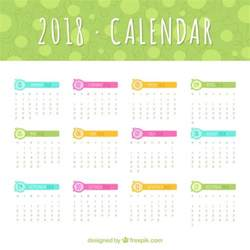 Calendario 2018 Descargar 2018 Calendar Template With Colored Elements Vector Free