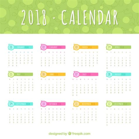 Calendar 2018 Template Vector 2018 Calendar Template With Colored Elements Vector Free