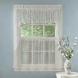 Kitchen Curtains And Valances White Priscilla Lace Kitchen Curtains Tiers Tailored Valance Or Swag Ebay