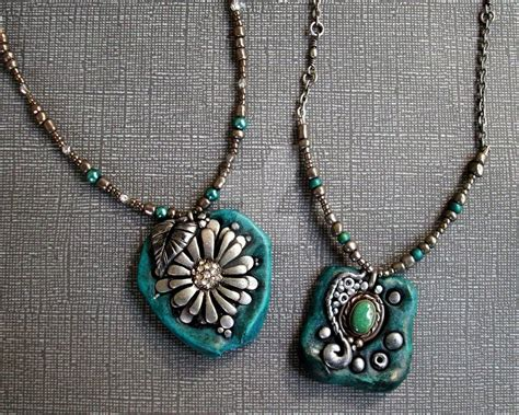 jewelry with clay turquoise silver and polymer clay necklaces by