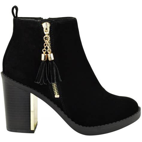 black high shine tassel detail block heel ankle boots