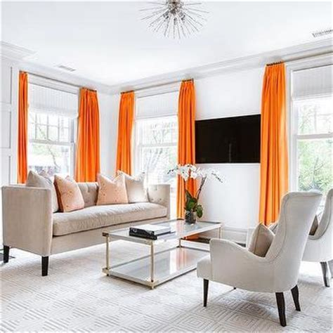 orange and white living room orange trim on white cafe curtains design ideas