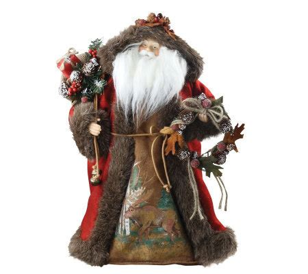 18 quot woodland santa tree topper by roman qvc com