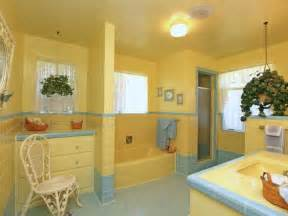 vintage yellow blue bathroom for the home
