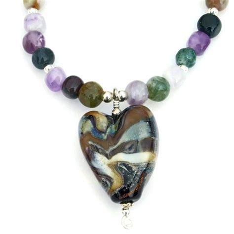 Lampwork Heart Necklace Handmade Amethyst Aventurine