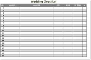 free wedding guest list templates for word and excel