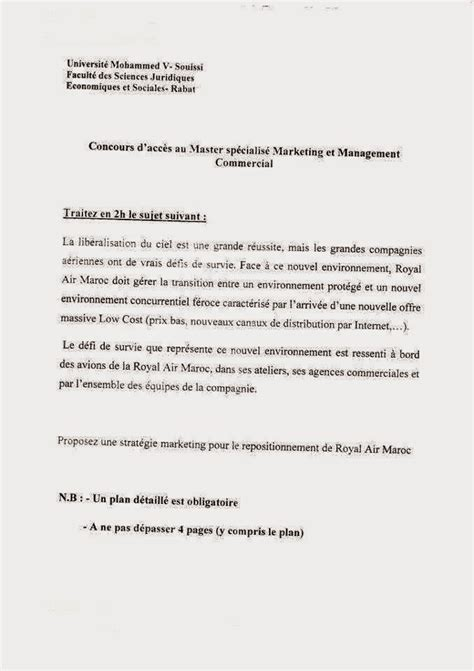 Exemple De Lettre De Motivation Maroc Exemple Concours D Acc 232 S Au Master Sp 233 Cialis 233 Marketing Et Management Commercial Al Master Ma