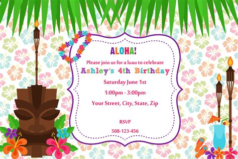 card template hawaian birthday jazlyn unique ideas for luau birthday invitations free ideas
