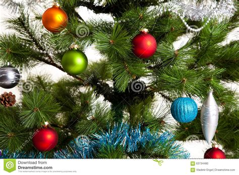 christmas tree decorations happy new year stock photo