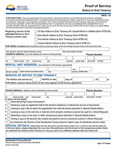 1 Year Lease Agreement Bc - bc 10 day notice to end tenancy for unpaid rent or
