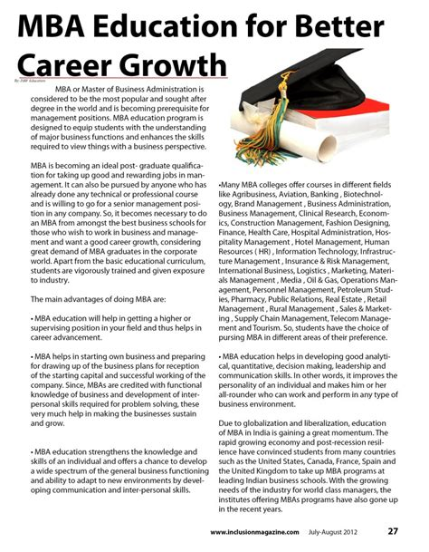 Mba Teaching by Mba Education For Better Career Growth Inclusion Magazine