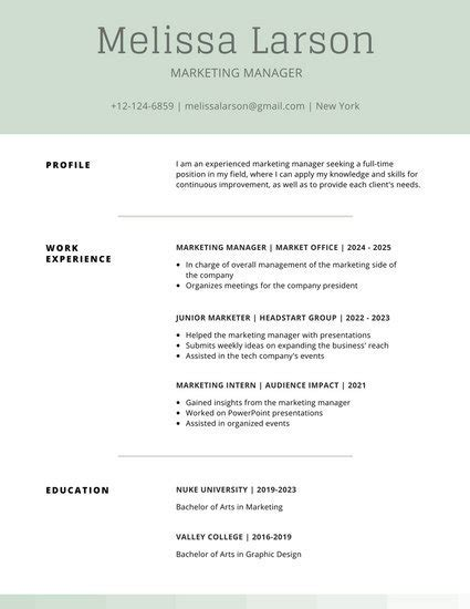 Simple Professional Resume Template by Customize 505 Simple Resume Templates Canva
