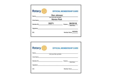 Rotary Membership Card Template rotary club membership cards home page