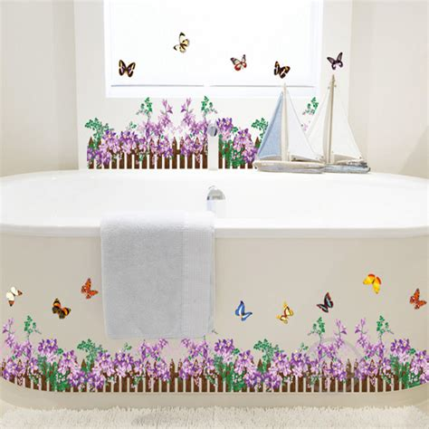 Flower Wall Decals For Bathroom Railing Fence Flowers Grass Butterfly Wall Sticker For