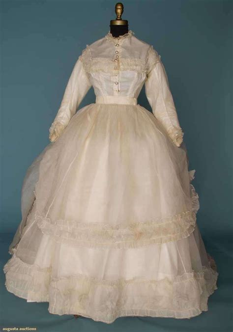 Istyles Late To 2007 Sleeve by White Organdy Wedding Dress 1860s Go Back Lot 13