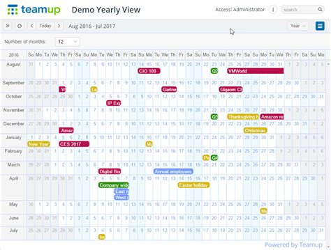 Year View Calendar Yearly View One Year At A Glance Teamup Calendar News
