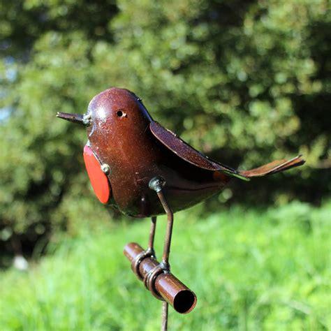 Handmade Sculpture - robin on rod handmade recycled metal garden sculpture by