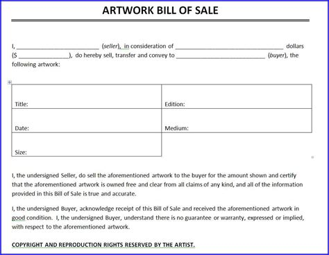 artwork bill of sale template ms word templates ms