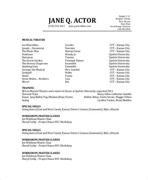 Resume For Actors by 6 Sle Actor Resumes Sle Templates