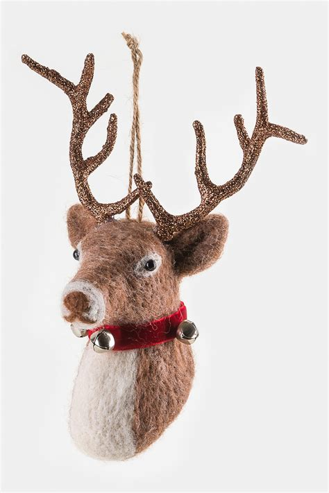 one hundred 80 degrees brown deer head felted ornament