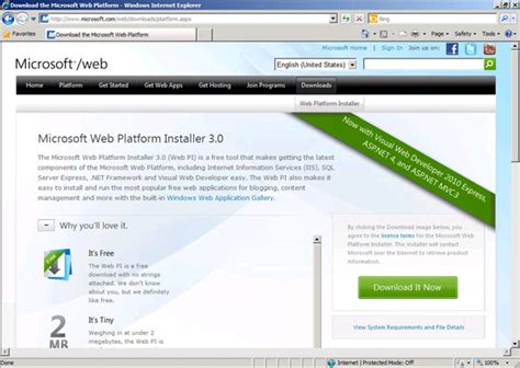 microsoft web install information services 7 0 and 3